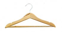 Wooden Child's Hanger c/w Bar & Notches - Natural